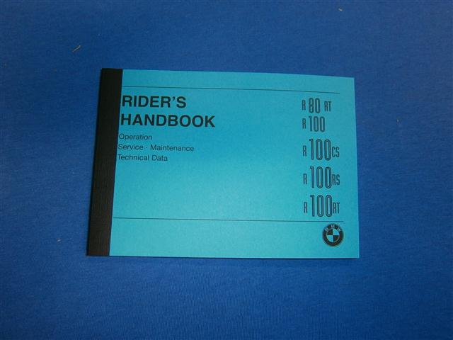 Riders Handbook R80RT,R100,R100CS,R100RS,R100RT in english